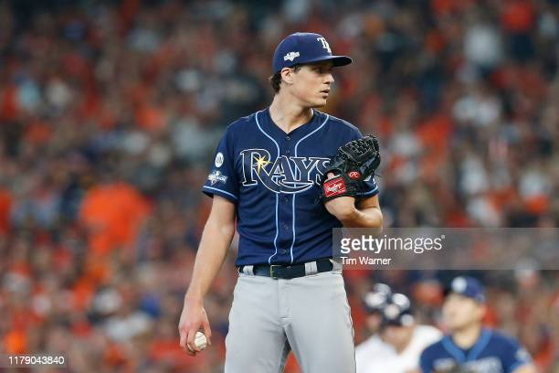 Tyler Glasnow of the Tampa Bay Rays looks on against the Houston Astros during the fifth inning in game one of the American League Division Series at...