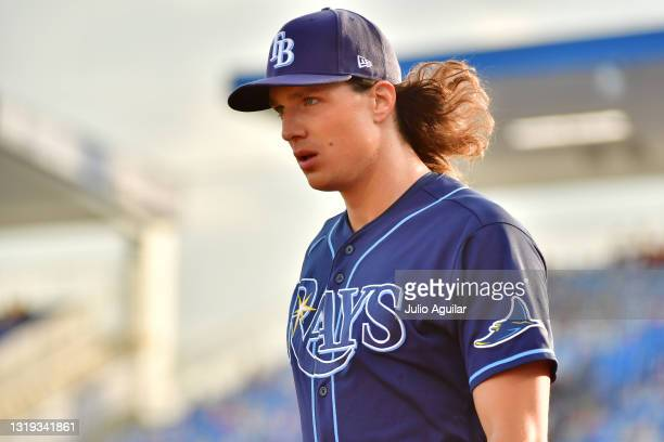 Tyler Glasnow of the Tampa Bay Rays looks on before a game against the Toronto Blue Jays at TD Ballpark on May 21, 2021 in Dunedin, Florida.