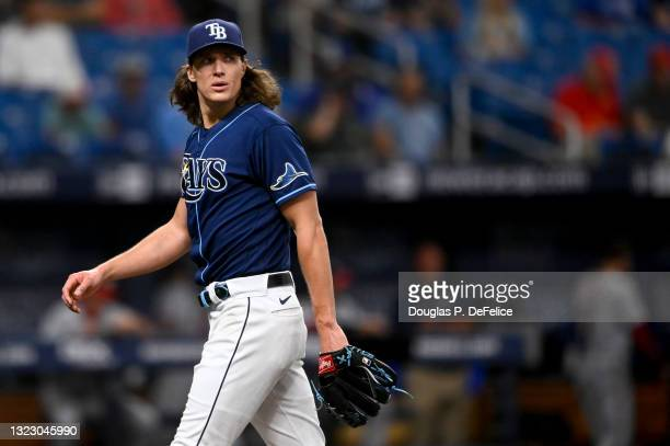 Tyler Glasnow of the Tampa Bay Rays looks on during the first inning against the Washington Nationals at Tropicana Field on June 08, 2021 in St...