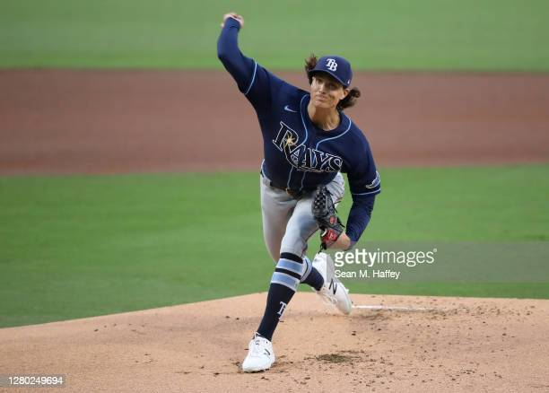 Tyler Glasnow of the Tampa Bay Rays pitches again the Houston Astros during the first inning in Game Four of the American League Championship Series...