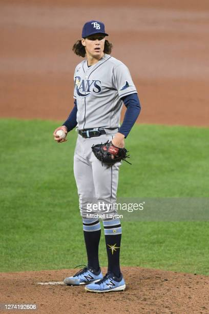 Tyler Glasnow of the Tampa Bay Rays pitches during a baseball game against the Baltimore Orioles at Oriole Park at Camden Yards on September 18, 2020...