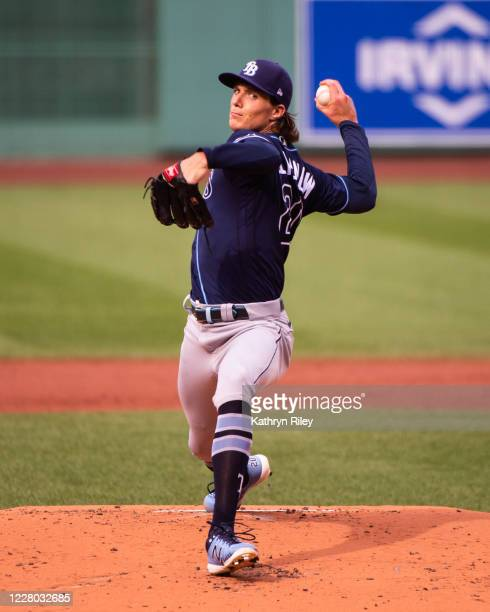 Tyler Glasnow of the Tampa Bay Rays pitches in the first inning against the Boston Red Sox at Fenway Park on August 13, 2020 in Boston, Massachusetts.