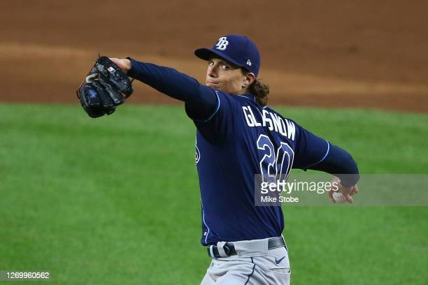 Tyler Glasnow of the Tampa Bay Rays pitches in the first inning against the New York Yankees at Yankee Stadium on August 31, 2020 in New York City.