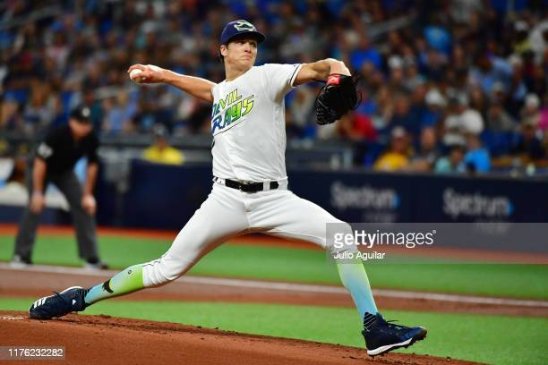 Tyler Glasnow of the Tampa Bay Rays pitches to the Boston Red Sox during the second inning of a baseball game at Tropicana Field on September 21,...