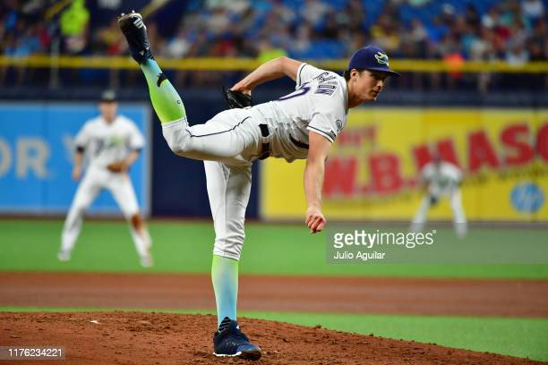 Tyler Glasnow of the Tampa Bay Rays pitches to the Boston Red Sox during the third inning of a baseball game at Tropicana Field on September 21 2019...