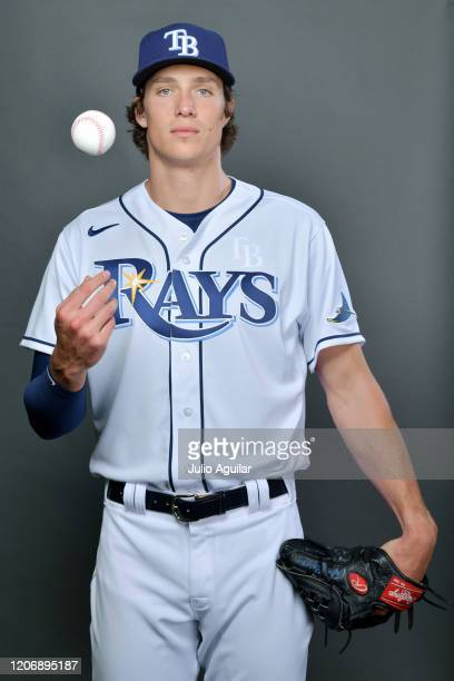Tyler Glasnow of the Tampa Bay Rays poses for picture day on February 17, 2020 in Port Charlotte, Florida.