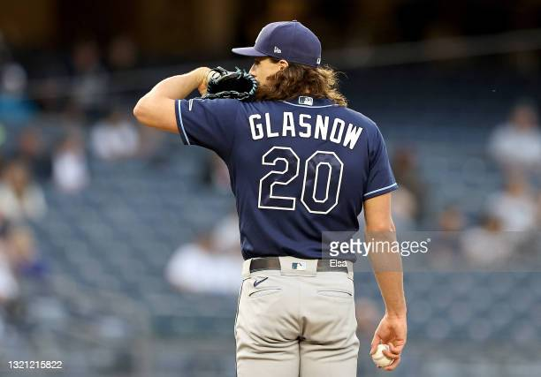 Tyler Glasnow of the Tampa Bay Rays prepares to deliver a pitch in the second inning against the New York Yankees at Yankee Stadium on June 01, 2021...