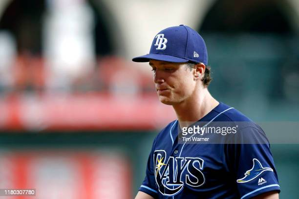 Tyler Glasnow of the Tampa Bay Rays reacts after being taken out of the game against the Houston Astros during the third inning in game five of the...