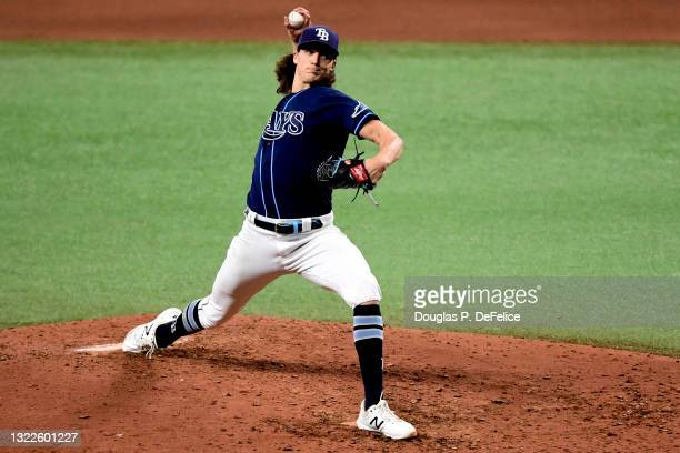 Tyler Glasnow of the Tampa Bay Rays throws a pitch during the fifth inning against the Washington Nationals at Tropicana Field on June 08, 2021 in St...