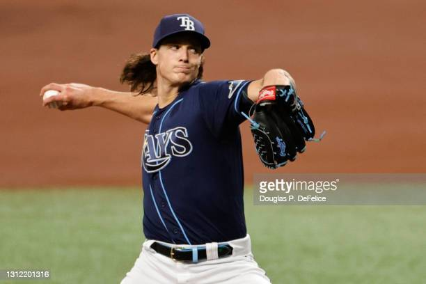 Tyler Glasnow of the Tampa Bay Rays throws a pitch during the first inning against the Texas Rangers at Tropicana Field on April 12, 2021 in St...