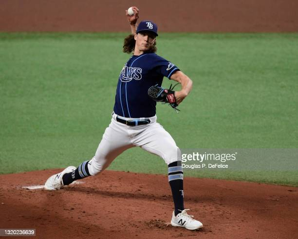 Tyler Glasnow of the Tampa Bay Rays throws a pitch during the second inning against the Kansas City Royals at Tropicana Field on May 26, 2021 in St...