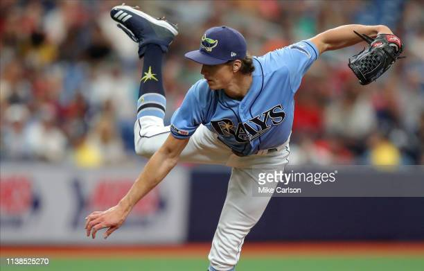 Tyler Glasnow of the Tampa Bay Rays throws in the first inning of a baseball game against the Boston Red Sox at Tropicana Field on April 21, 2019 in...