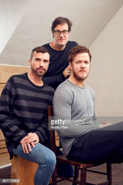 Tyler Glenn Don Argott and Dan Reynolds from the film 'Believer' pose for a portrait in the YouTube x Getty Images Portrait Studio at 2018 Sundance...