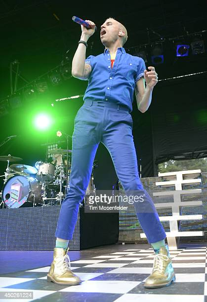 Tyler Glenn of Neon Trees performs during the Chipotle Cultivate Festival at Hellman Hollow in Golden Gate Park on June 7 2014 in San Francisco...