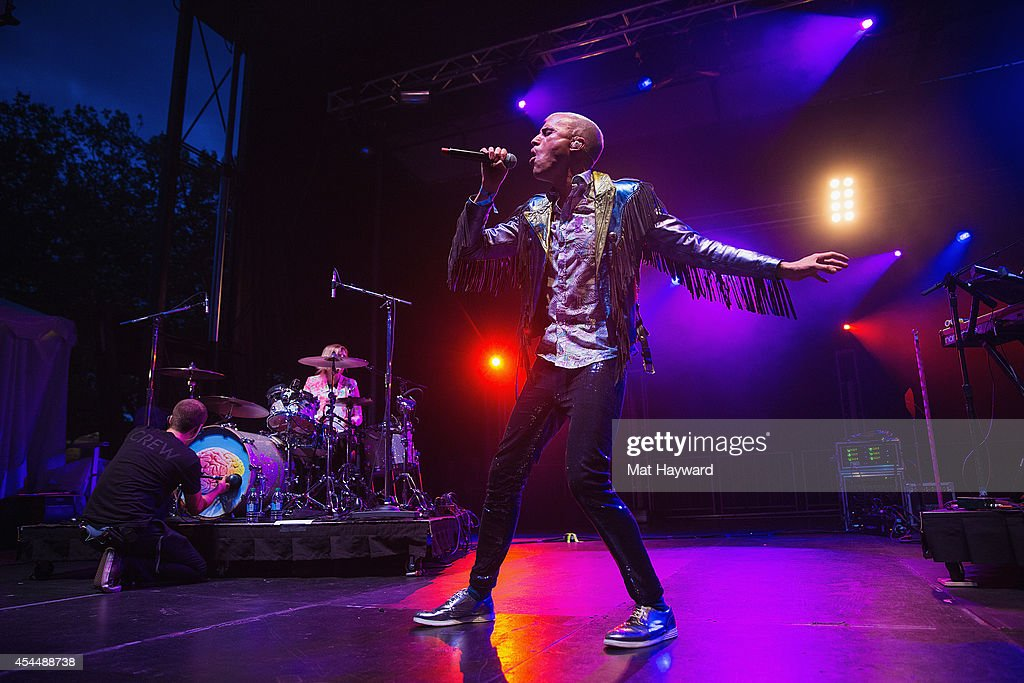 Tyler Glenn of Neon Trees performs on stage during the Bumbershoot Music and Arts Festival on September 1, 2014 in Seattle, Washington.