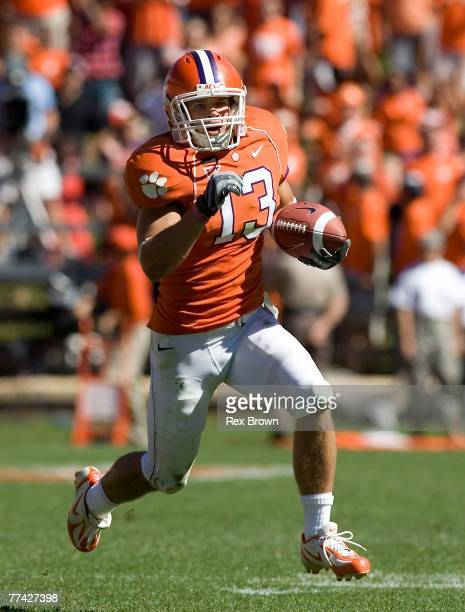 Tyler Grisham of the Clemson Tigers breaks free for a first down against the Central Michigan Chippewas at Memorial Stadium on October 20 2007 in...