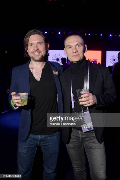 Tyler H Walk and Askold Kurov attend the 2020 Sundance Film Festival Awards Night Party at Basin Recreation Field House on February 01 2020 in Park...