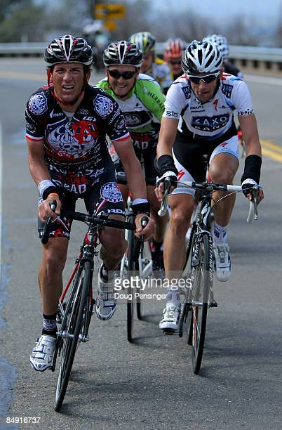Tyler Hamilton of the USA and riding for Rock Racing leads the breakaway group along with Jason McCartney of the USA and riding for Saxo Bank on the...