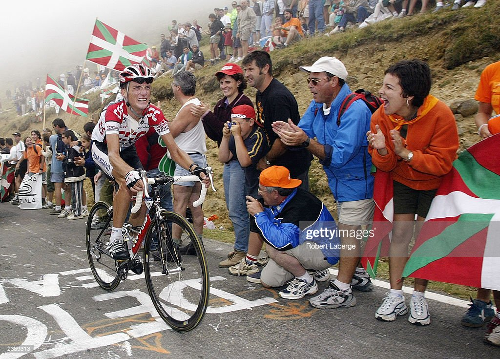 Tyler Hamilton of the USA, riding for Team CSC, climbs up to the Col Bagarguy during stage sixteen between Pau and Bayonne of the Tour de France on July 23, 2003 in France.
