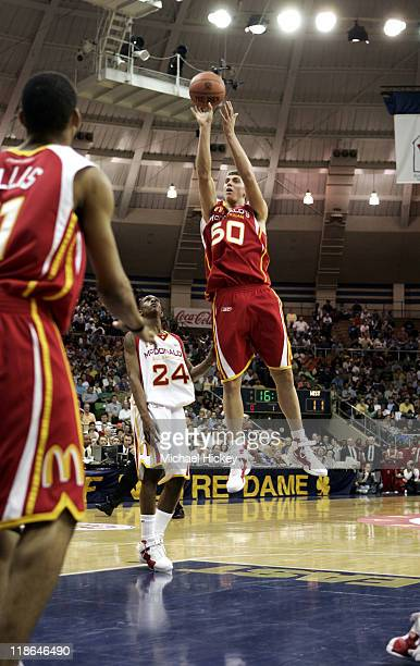 Tyler Hansbough of Poplar Bluff, MO plays in the McDonalds All American High School Basketball game at the Joyce Center in South Bend, IN on March...