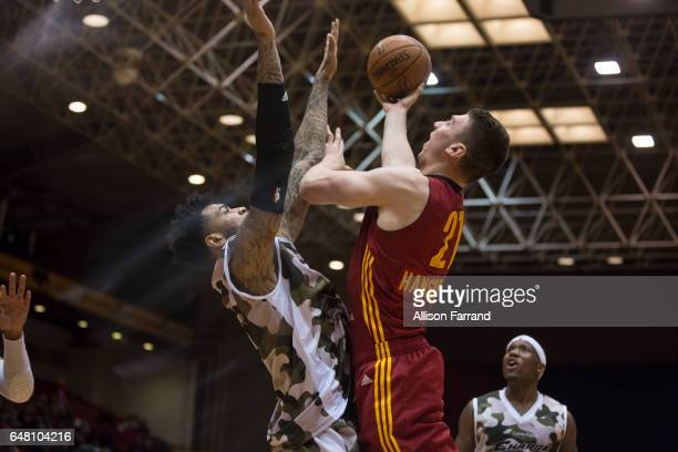Tyler Hansbrough of the Fort Wayne Mad Ants drives to the basket against the Canton Charge at the Canton Memorial Civic Center on March 4 2017 in...
