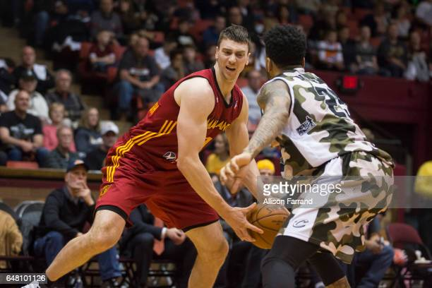 Tyler Hansbrough of the Fort Wayne Mad Ants drives with the ball against the Canton Charge at the Canton Memorial Civic Center on March 4 2017 in...