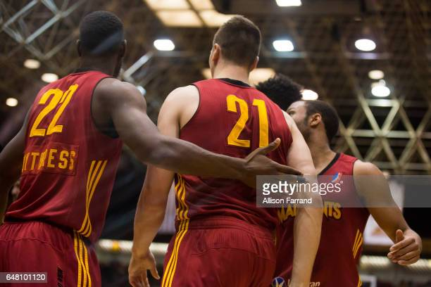 Tyler Hansbrough of the Fort Wayne Mad Ants is helped from the court against the Canton Charge at the Canton Memorial Civic Center on March 4 2017 in...