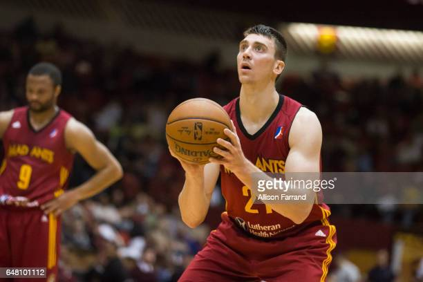 Tyler Hansbrough of the Fort Wayne Mad Ants shoots a free throw against the Canton Charge at the Canton Memorial Civic Center on March 4 2017 in...