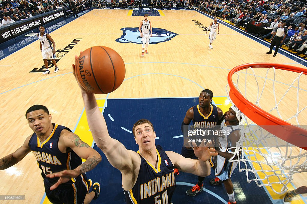 Tyler Hansbrough #50 of the Indiana Pacers grabs a rebound against the Memphis Grizzlies on January 21, 2013 at FedExForum in Memphis, Tennessee.