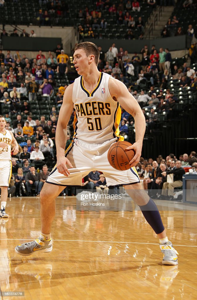 Tyler Hansbrough #50 of the Indiana Pacers protects the ball during the game between the Indiana Pacers and the New York Knicks on February 20, 2013 at Bankers Life Fieldhouse in Indianapolis, Indiana.