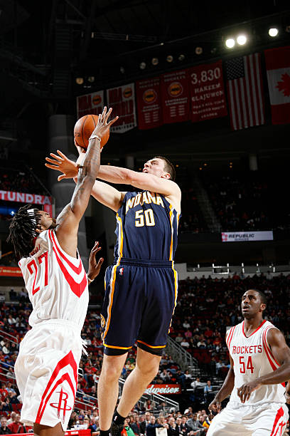 1f054c3f85bc Tyler Hansbrough  50 of the Indiana Pacers shoots the ball over Jordan Hill   27