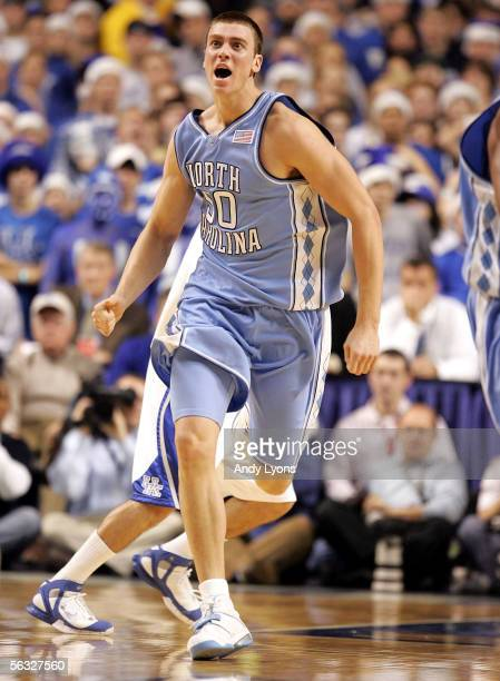 Tyler Hansbrough of the North Carolina Tar Heels celebrates after making a basket against the Kentucky Wildcats on December 3, 2005 at Rupp Arena in...