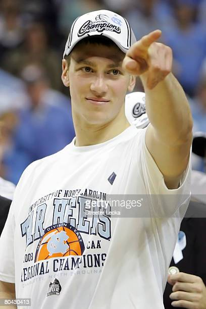 Tyler Hansbrough of the North Carolina Tar Heels celebrates his team's victory against the Louisville Cardinals during the 2008 NCAA Men's East...