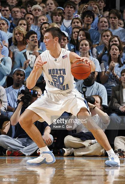 Tyler Hansbrough of the North Carolina Tar Heels drives the ball against the Florida State Seminoles during day two of the 2008 Men's ACC Basketball...