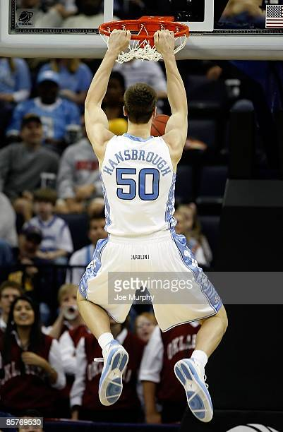 Tyler Hansbrough of the North Carolina Tar Heels dunks the ball while taking on the Oklahoma Sooners during the NCAA Men's Basketball Tournament...