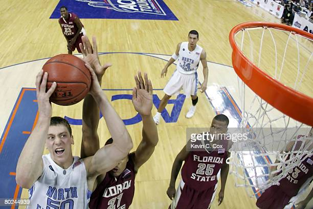 Tyler Hansbrough of the North Carolina Tar Heels goes up for a shot over Julian Vaughn of the Florida State Seminoles during day two of the 2008...