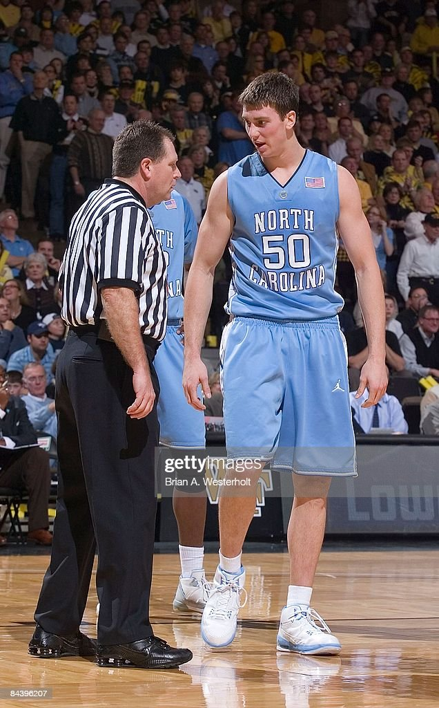 Tyler Hansbrough #50 of the North Carolina Tar Heels has a discussion with referee Jamie Luckie during a stoppage in play against the Wake Forest Demon Deacons at the LJVM Coliseum January 11, 2009 in Winston-Salem, North Carolina. The Demon Deacons defeated the Tar Heels 92-89.
