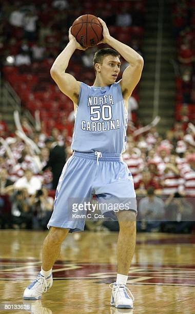 Tyler Hansbrough of the North Carolina Tar Heels looks to move the ball against the North Carolina State Wolfpack during the game at RBC Center on...
