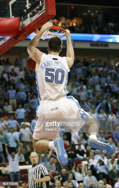 Tyler Hansbrough of the North Carolina Tar Heels makes a dunk against the Mount St. Mary's Mountaineers during the 1st round of the 2008 NCAA Men's...