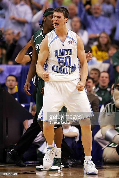 Tyler Hansbrough of the North Carolina Tar Heels reacts after getting fouled in the first half against the Michigan State Spartans during round two...