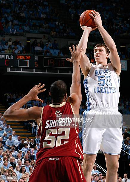 Tyler Hansbrough of the North Carolina Tar Heels shoots over Josh Southern of the Boston College Eagles during the game on January 4, 2008 at the...