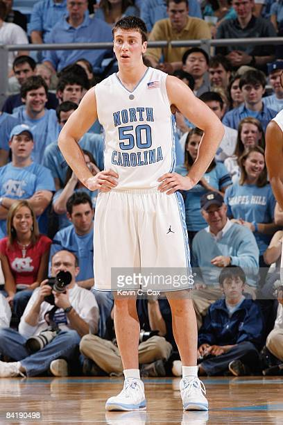 Tyler Hansbrough of the North Carolina Tar Heels stands on the court during the game against the Rutgers Scarlet Knights on December 28 2008 at the...