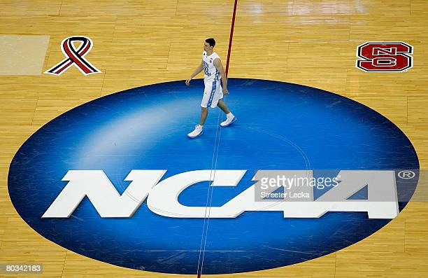 Tyler Hansbrough of the North Carolina Tar Heels walks out to center court for the tipoff of their game against the Mount St Mary's Mountaineers...