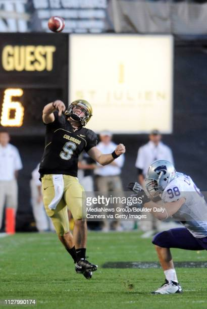 Tyler Hansen throws a pass on the run to Cody Crawford pass interference was called on KSU