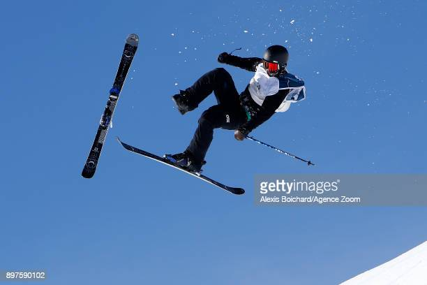 Tyler Harding of Great Britain crashes out during the FIS Freestyle Ski World Cup Freestyle Slopestyle on December 23 2017 in Font Romeu France