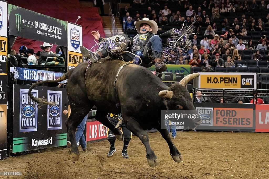 Tyler Harr rides during the 2017 Professional Bull Riders Monster Energy Buck Off at the Garden at Madison Square Garden on January 6, 2017 in New York City.