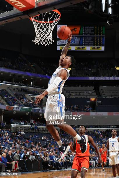 Tyler Harris of the Memphis Tigers goes up for a dunk against the Florida AM Rattlers on December 29 2018 at FedExForum in Memphis Tennessee Memphis...