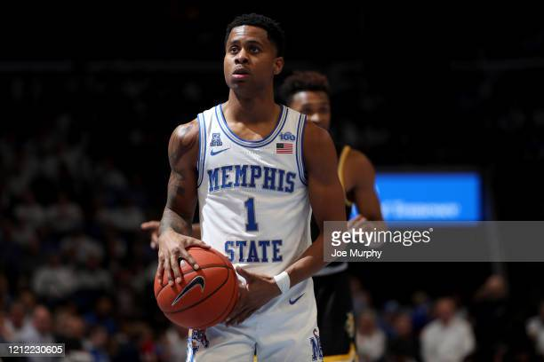Tyler Harris of the Memphis Tigers shoots a freethrow against the Wichita State Shockers during a game on March 5 2020 at FedExForum in Memphis...