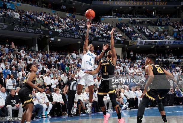 Tyler Harris of the Memphis Tigers shoots against the Wichita State Shockers during a game on March 5 2020 at FedExForum in Memphis Tennessee Memphis...
