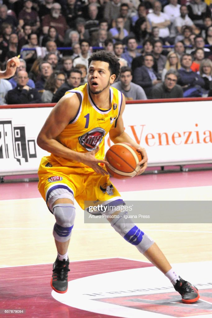 Tyler Harvey of Fiat in action during the LegaBasket LBA of Serie A1 match between Reyer Umana Venezia and Auxilium Fiat Torino at Palasport Taliercio on March 19, 2017 in Mestre, Italy.